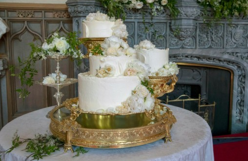 The wedding cake for Prince Harry and Meghan Markle by Claire Ptak of London-based bakery Violet Cakes on display in Windsor Castle in Windsor, near London, England, Saturday, May 19, 2018. (Steve Parsons/pool photo via AP)